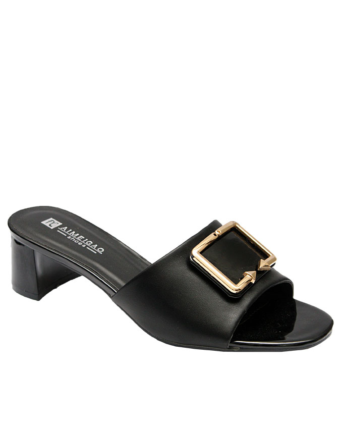 clara slipper with front gold buckle - black   eu size 37, 38, 39, 40, 41,  n11,500