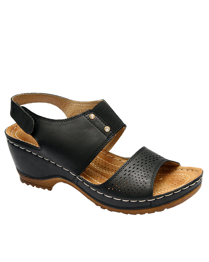 bambino wedge sandal with top stud detail - black   eu size 36, 37, 38, 39, 40, 41  n10,500