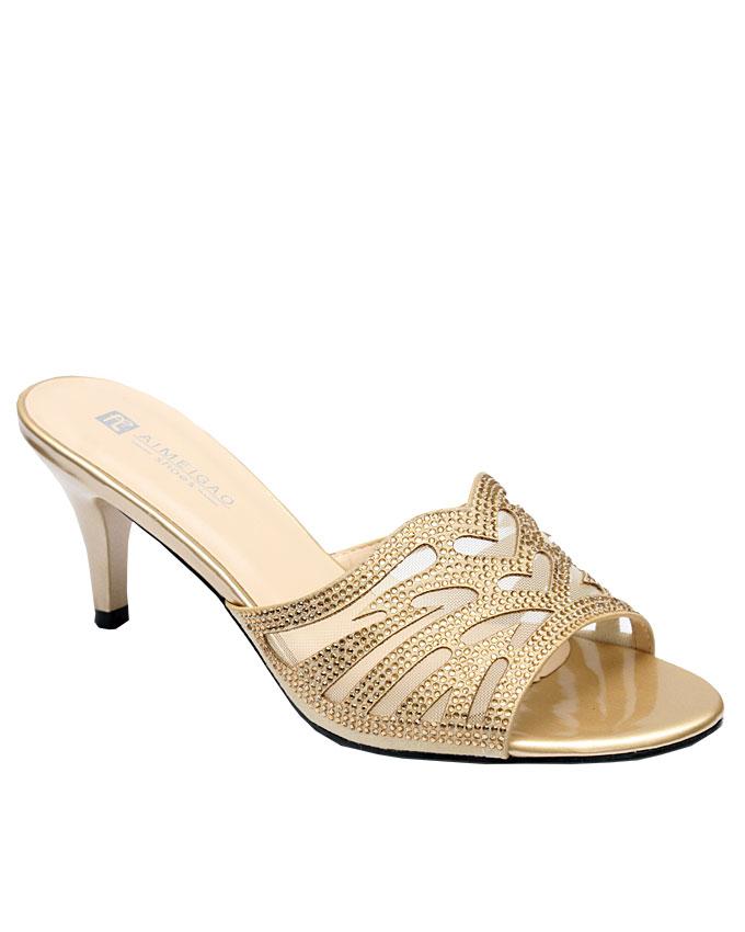 mia studded laser cut slipper - gold   eu size 36, 37, 38, 39, 40, 41  n12,000