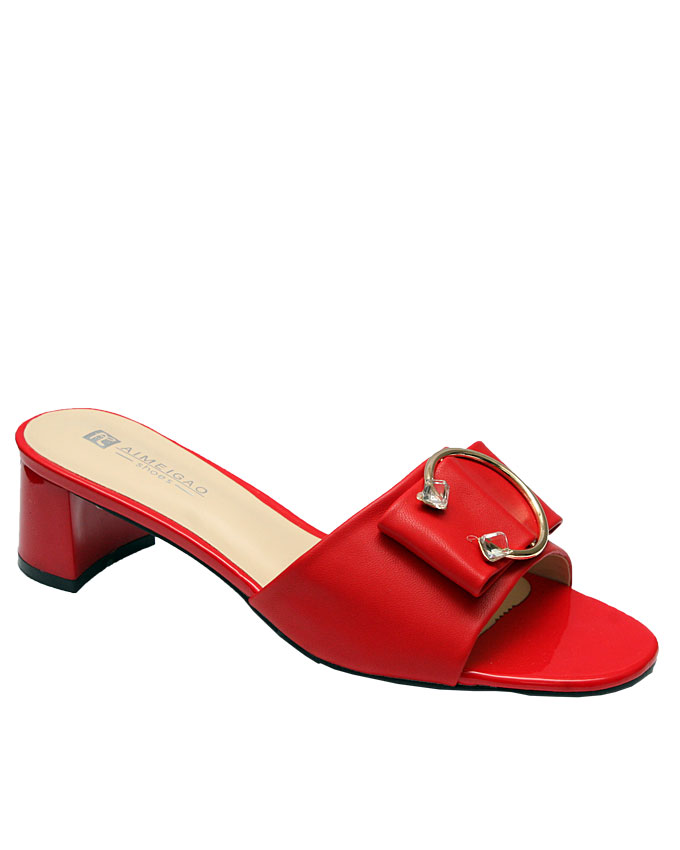 naomi slipper with front piercing ring detail - red   eu size 37, 38, 39, 40, 41, 42  n11,500