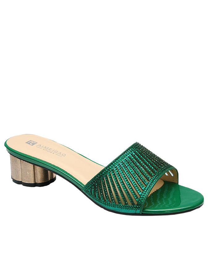alina slipper with cut-out strip detail - green   eu size 36, 37, 40,  n12,500