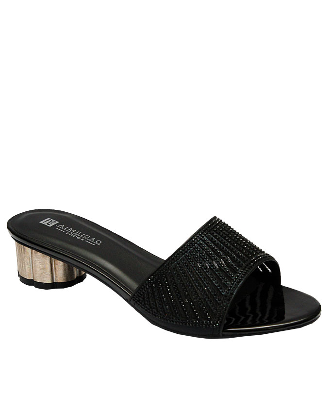 anna slipper with cut-out strips - black   eu size 36, 37, 38, 41  n12,500