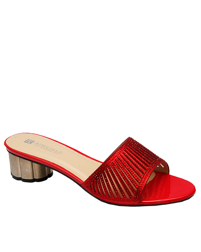 cora slipper with cut-out strips detail - red   eu size 36, 37, 38  n12,500