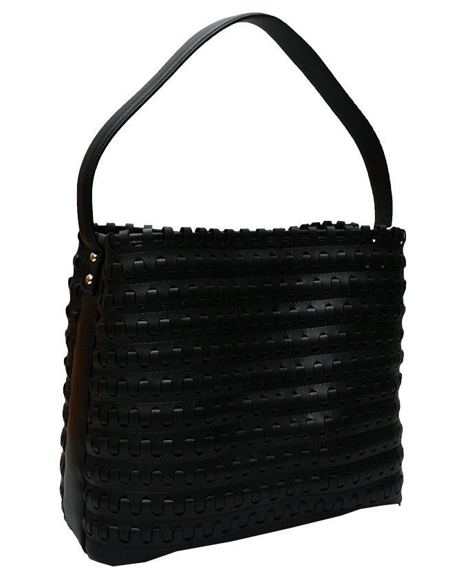 mayfair weave bag - black ( side view)   n25,000
