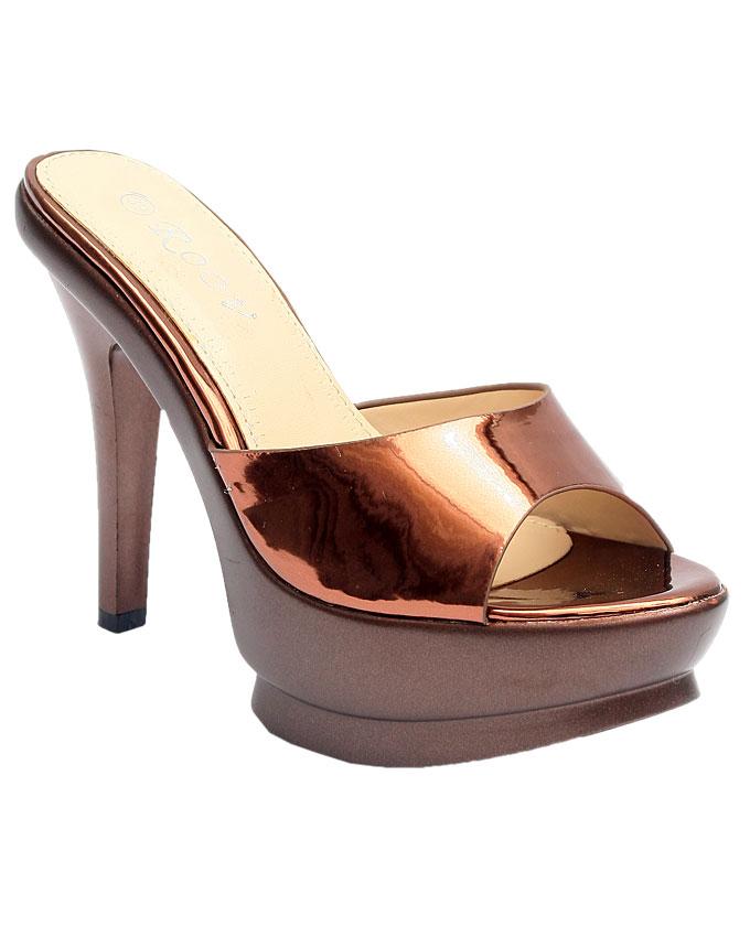 "ariana patent 4"" heel slipper - brown    sizes:  36,37, 38, 39, 40, 41  n12,500"