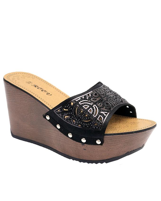 evelyn satin wedge slipper w/ cut outs - black    sizes : 36, 37, 38, 39, 40, 41  n11,500