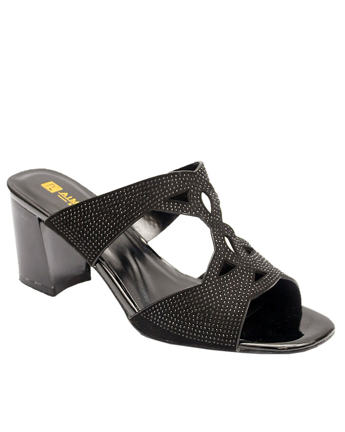 jackie studded cut-out slipper - black    sizes : 36, 37, 38, 39, 40, 41  n12,500
