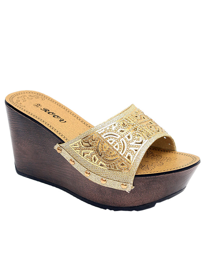luna slipper with wood inspired heel - gold    sizes : 36, 37, 38, 39, 40  n11,500