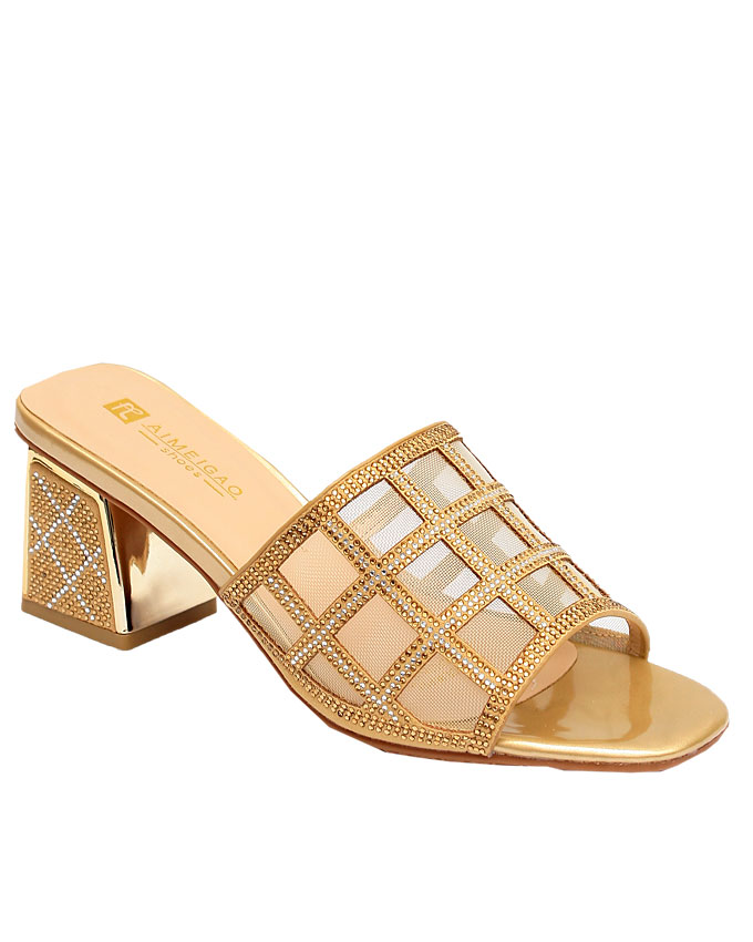 ora mesh slipper with studded heel - gold    sizes:  36, 37, 38, 39, 40  n12,500