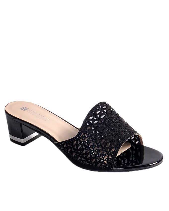 S A L E    laser cut slipper with top stud detail - black   uk 7 / 41, uk 8 / 42   WAS  n24,000  NOW  N19,000