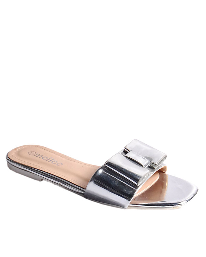 flat slipper with bow detail - silver   uk 6.5 / 40  n11,000 ( sold out)