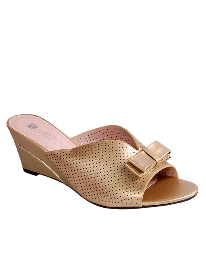 S A L E    perforated slipper with bow - gold   uk 7 / 41   WAS  n24,000  NOW  N19,000