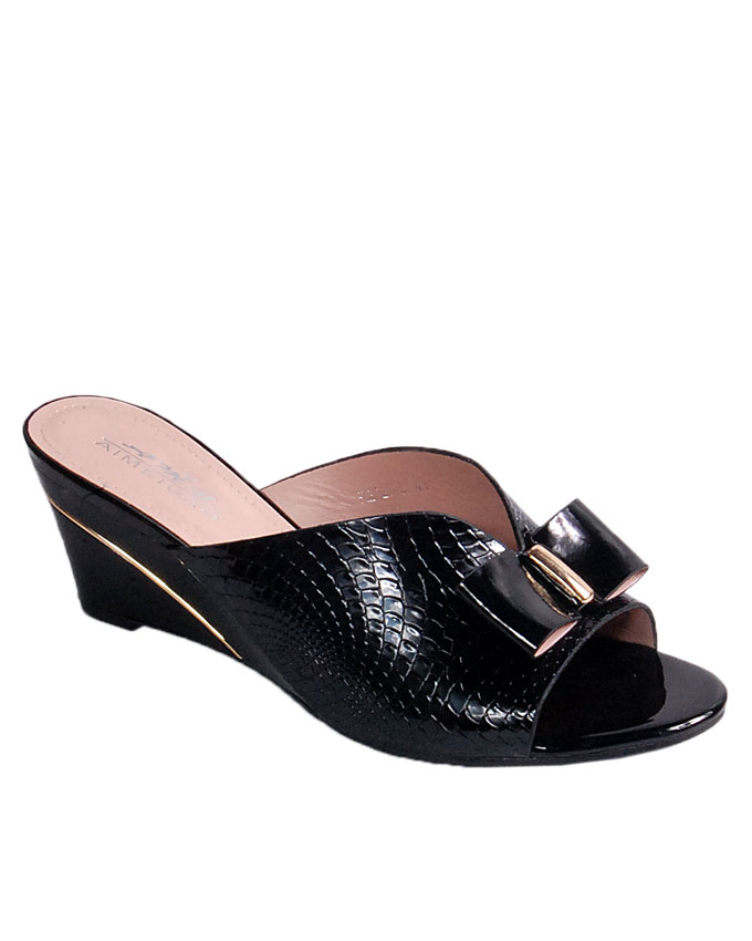 S A L E    slipper wedge with crocodile inspired skin and bow detail - black   uk size 6.5 / 40 , 7 / 41   WAS  n24,000  NOW  N19,000