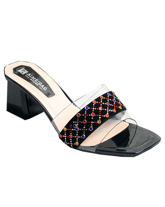 beatrice transparent slippers - black    sizes : 37, 38, 39, 40, 41  n12,000