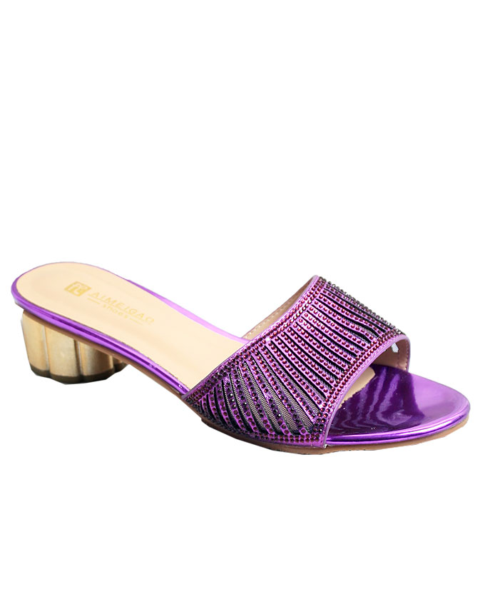 priscilla laser stud leather slippers - purple    sizes : 37, 38, 39, 40, 41  n12,000