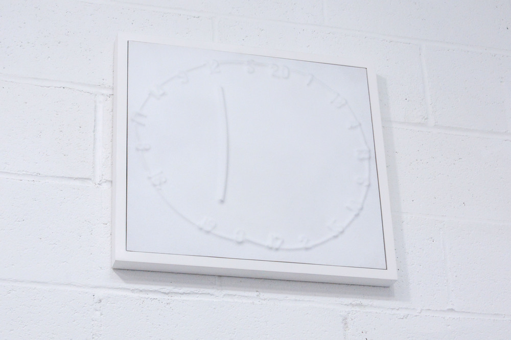 David King   Clock Game   Thermo-formed plastic on wood panel  2015