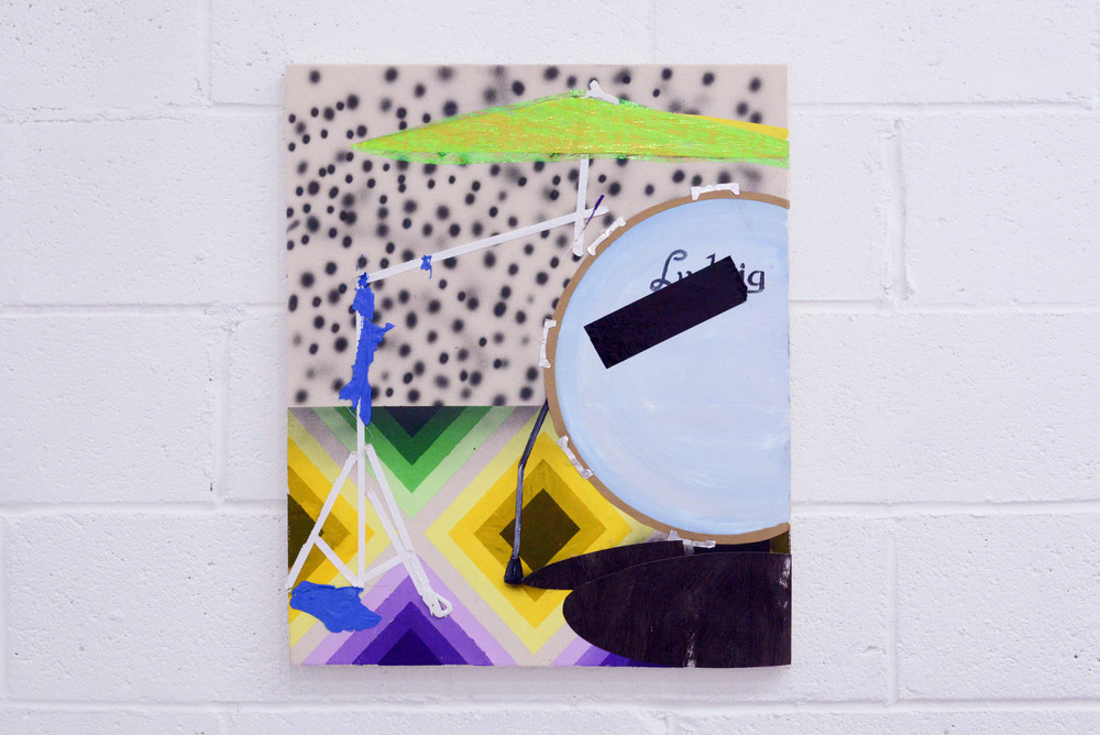 Omar Velazquez   Untitled (Stand & Kick)   Acrylic, paper, and tape on canvas  2015