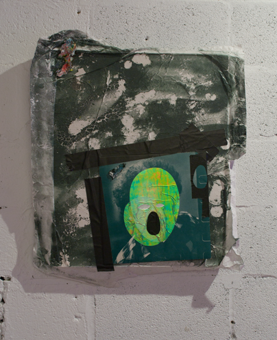 Untitled    oil, spray paint, and collaged paper on canvas   2015