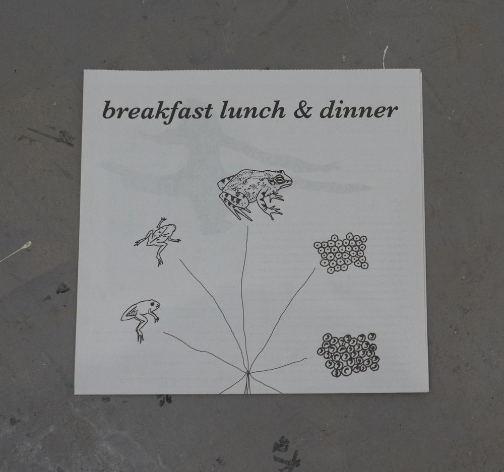Breakfast, Lunch, & Dinner   with writings from  Mika Agari ,  David Anderson ,  Jessica Clay , David King,  Zack Rafuls  &  Christian Vistan
