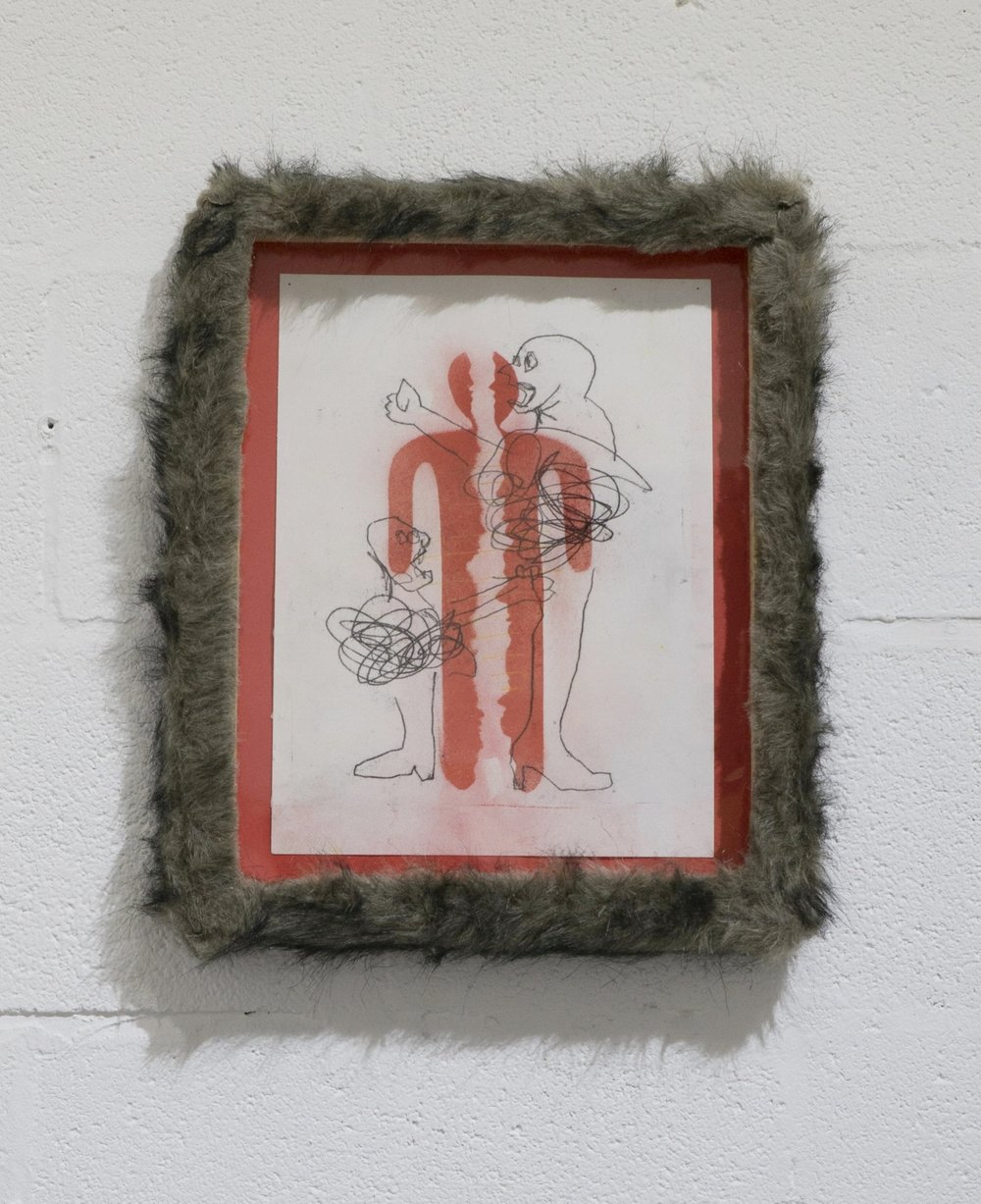 The Declarer Declares     Matt Christy   Pastel on paper in artist's fur-covered frame  2015