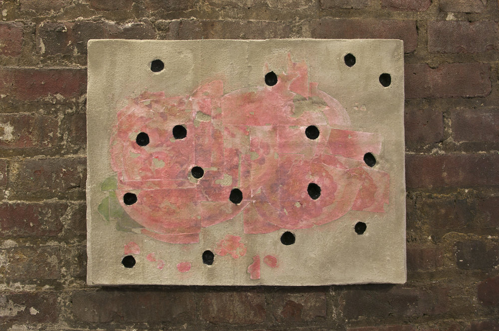 Zack Rafuls   Still Life (Pomegranate)   2017  Acrylic medium image transfer on cast concrete, enamel