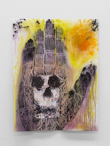 Hello Goodbye  acrylic, crayon, and poster on grave rubbing paper  2016