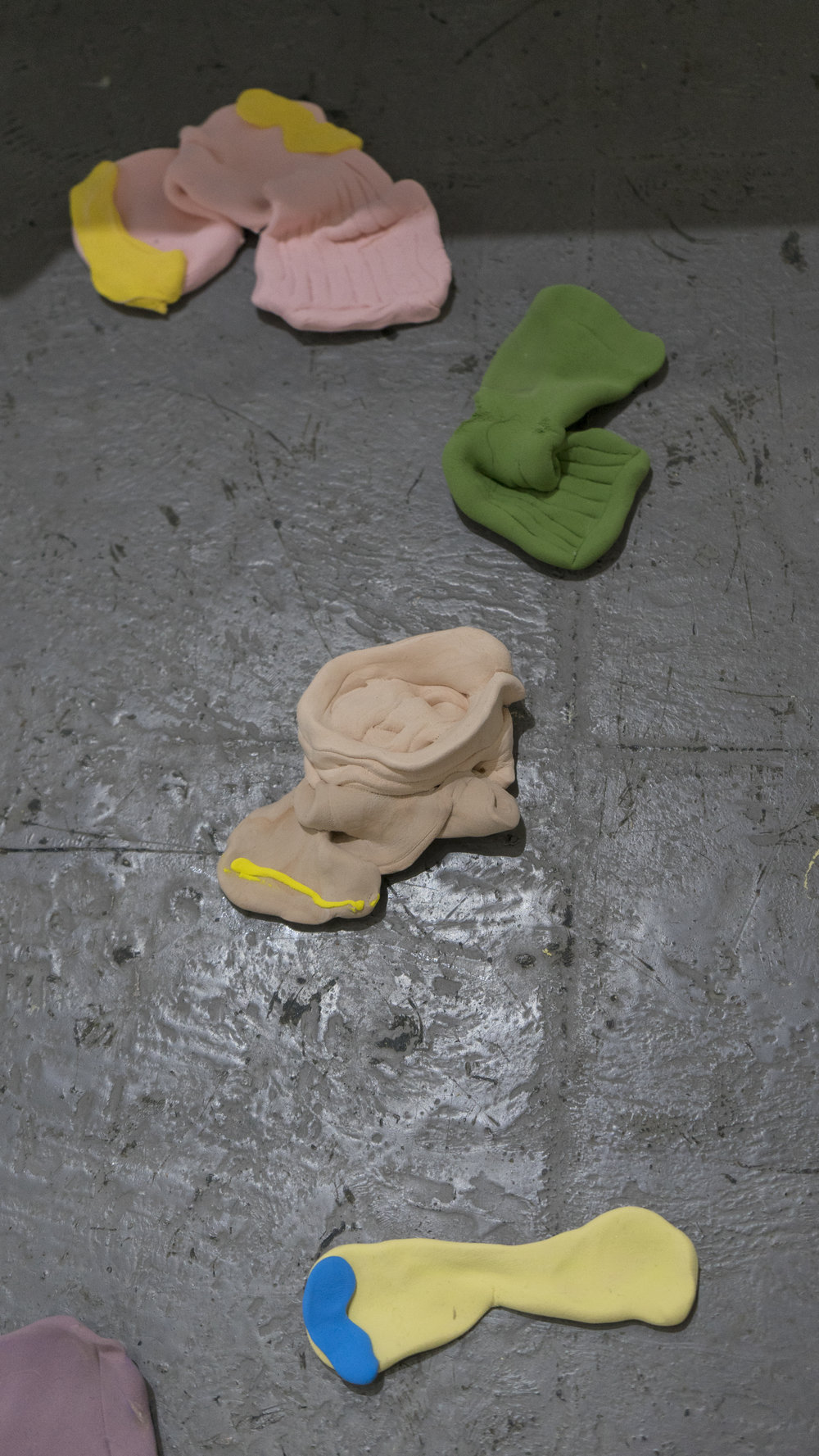 Kitchen table - floor - bed - socks   Bridget Bailey  Air dry clay  2017