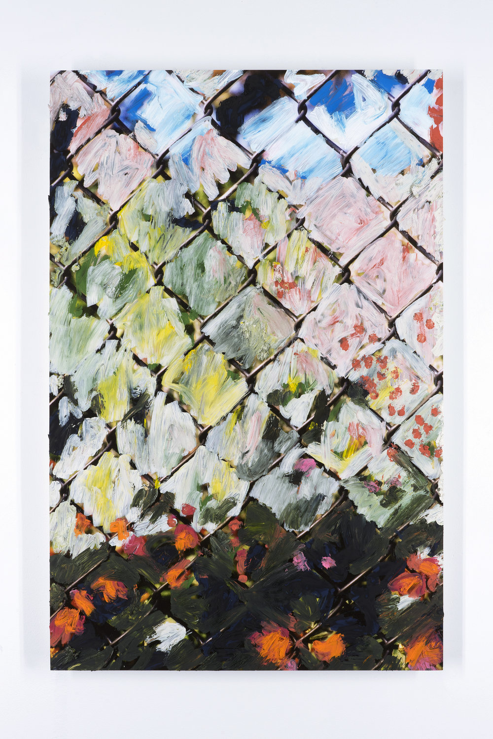 Untitled (Fence 2)   Oil paint on mounted inkjet print  2017
