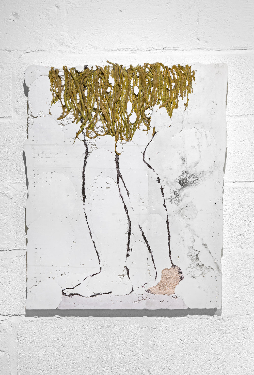 Erin Lee Jones   Magdalene, Magdalene   2017  Hydrocal, aluminum foil, fabric, unraveled burlap, acrylic