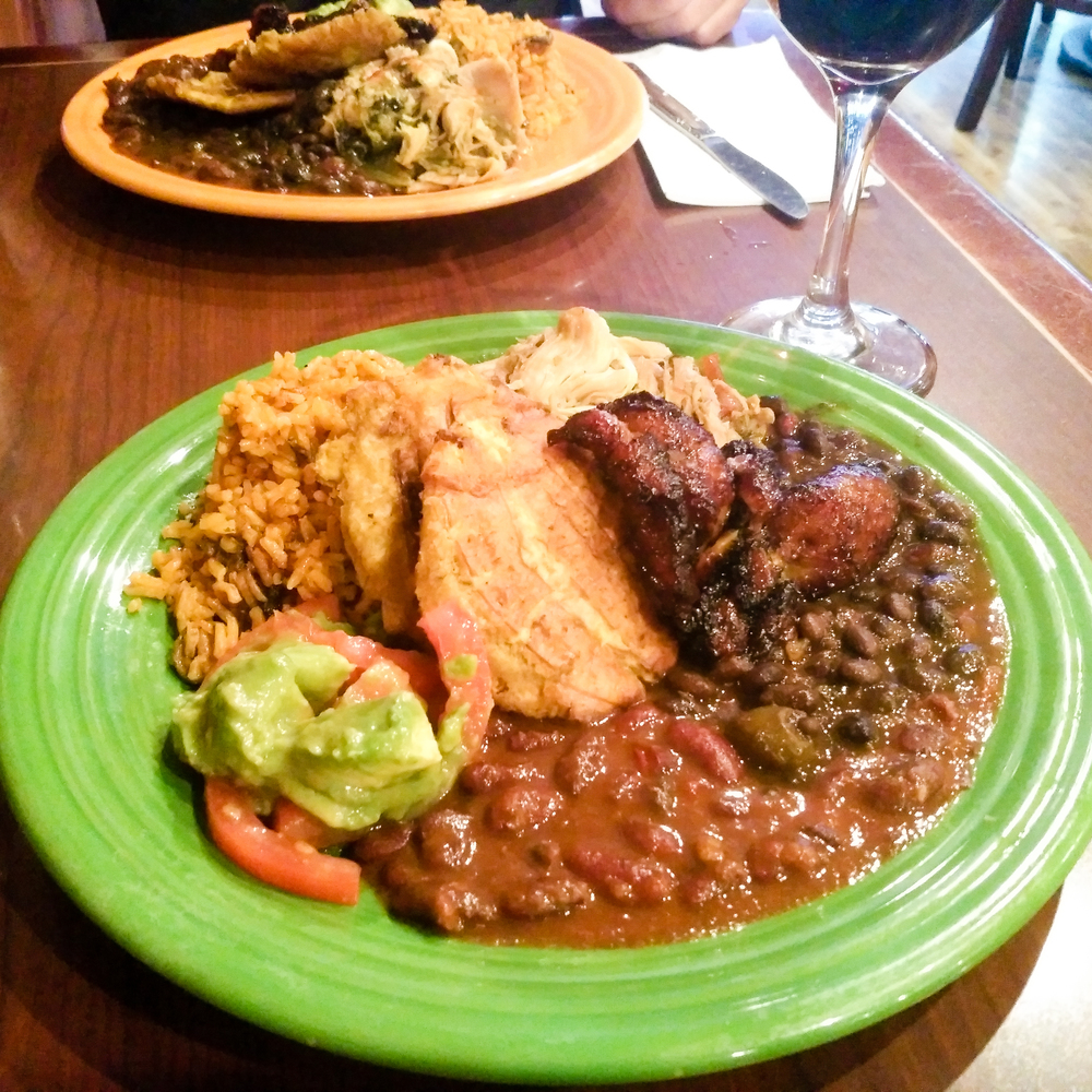 My first meal of the day was one of my favorite plates of food on Earth: Pollo al Horno with half rice and beans and half sweet and fried green plantains from  El   Colqui . I crave this when in Europe.