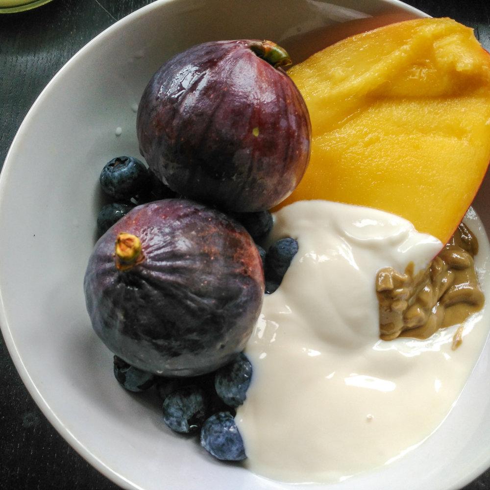 Breakfast of fruit, yogurt and a little sunflower butter.