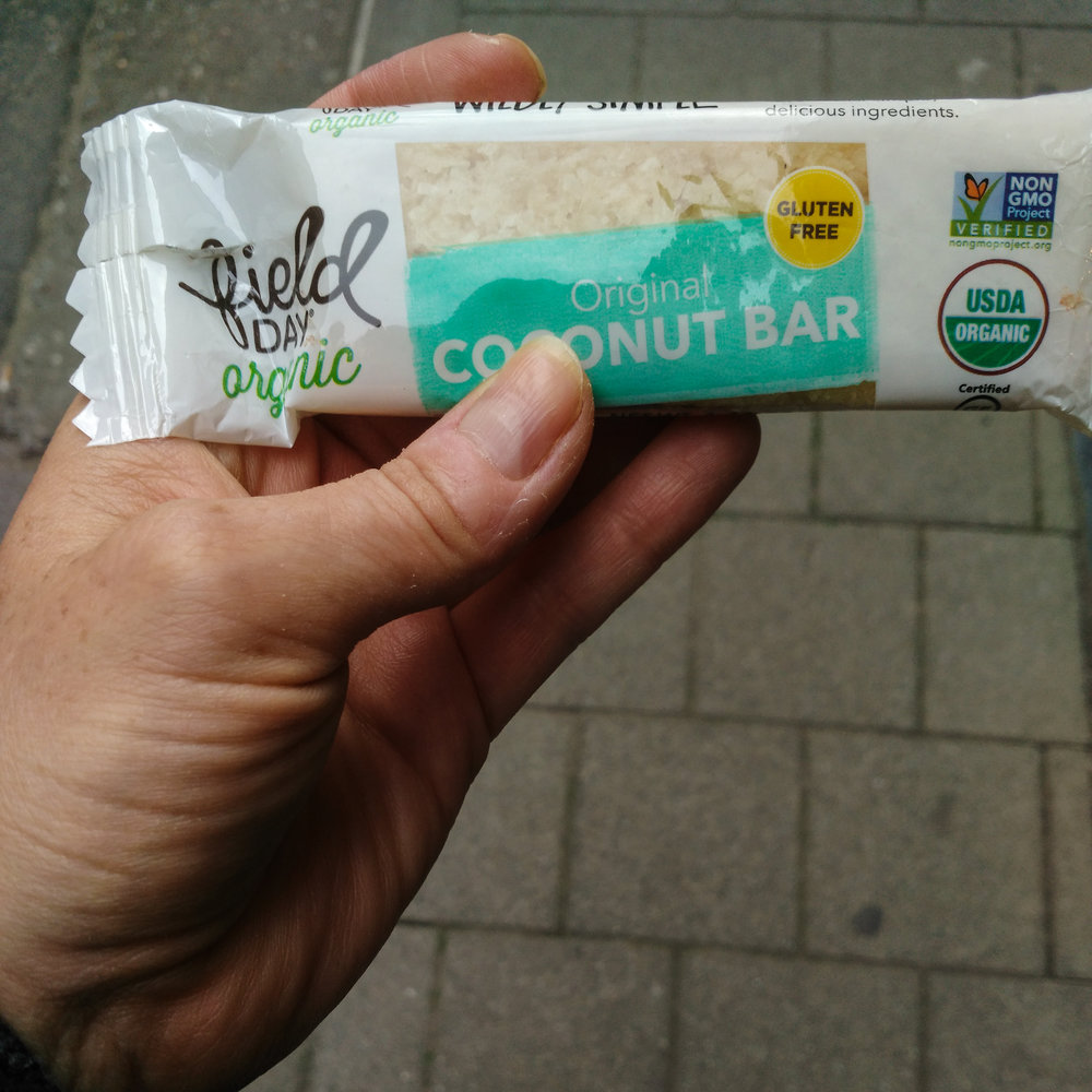 Quick FieldDay Coconut Bar counted as my lunch I headed out the door for physical therapy.