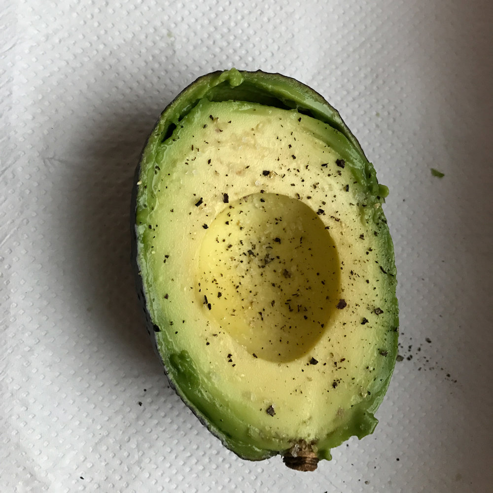 Afternoon Snack: Half a perfectly ripe avocado with salt and pepper.