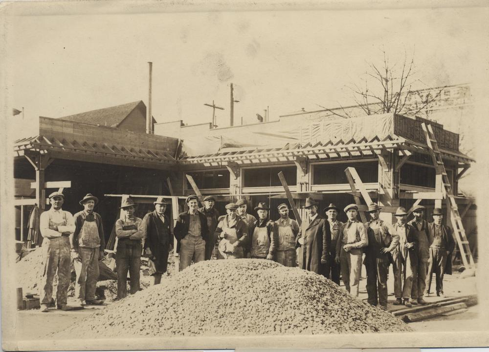 Workers at a construction site, Seattle, c. 1925. Gelatin-silver photograph, collection of Christine L. Howard.
