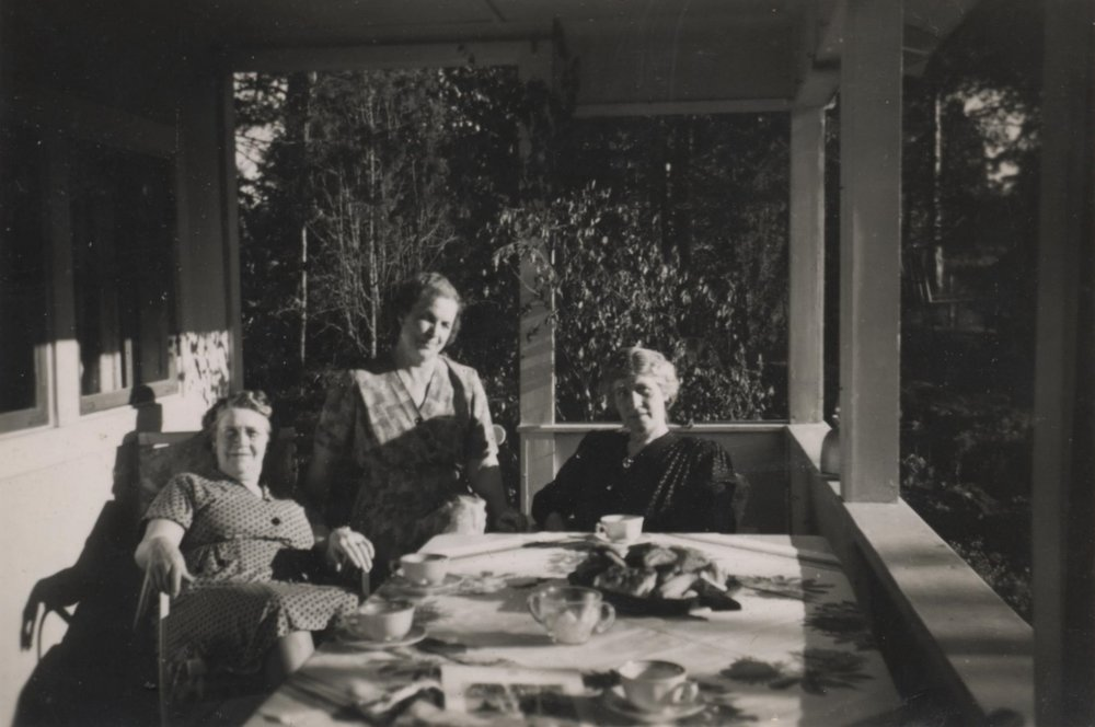 Elsie Johnson, Hildur Svärd, and Hildur Larsson, Sweden, c. 1950. Gelatin-silver photograph, collection of Margaret H. Howard.