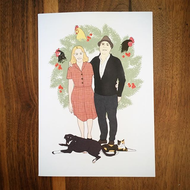Just got the #holiday card I illustrated for Liz & Dave!