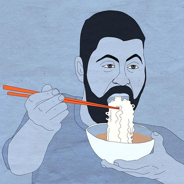 Nick at Ohyama Ramen in Whistler. . . . . #newyears #resolution #draw #mylife #illustration #newyear #2019 #whistler #ohyamaramen #ramen #soup #vacation #bristishcolumbia #canada #ski #apresski #apres