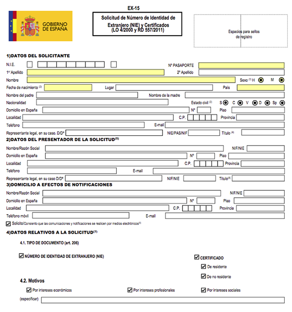 A section of the 'very clear' NIE form