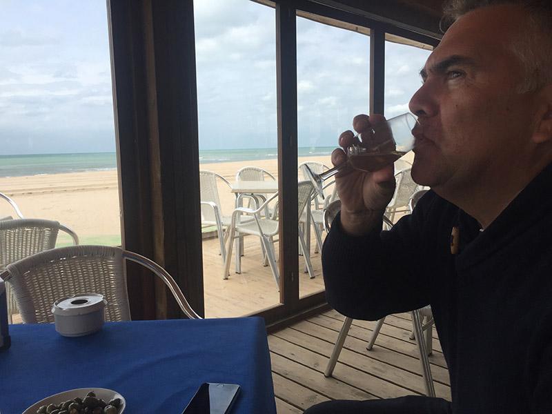 Ian celbrates with a mid morning Manzanilla