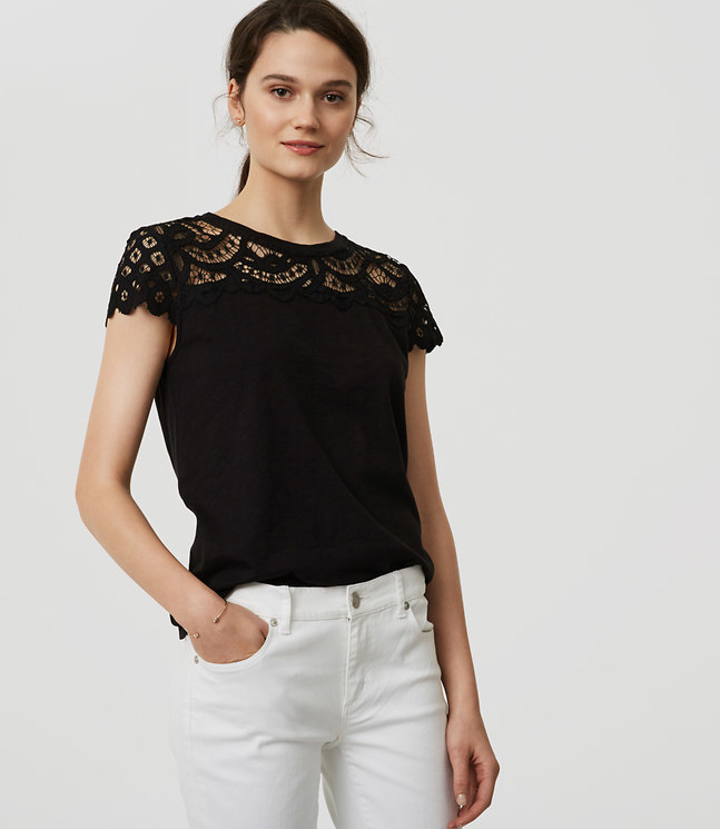 Lace Topped Tee , $40