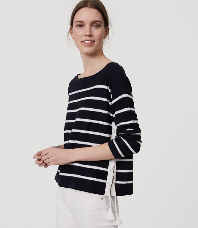 Striped Lace Up Side Sweater , $50