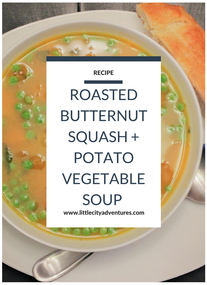 This Roasted Butternut Squash and Potato Vegetable Soup is hearty, delicious, AND healthy! #littlecitykitchen >>