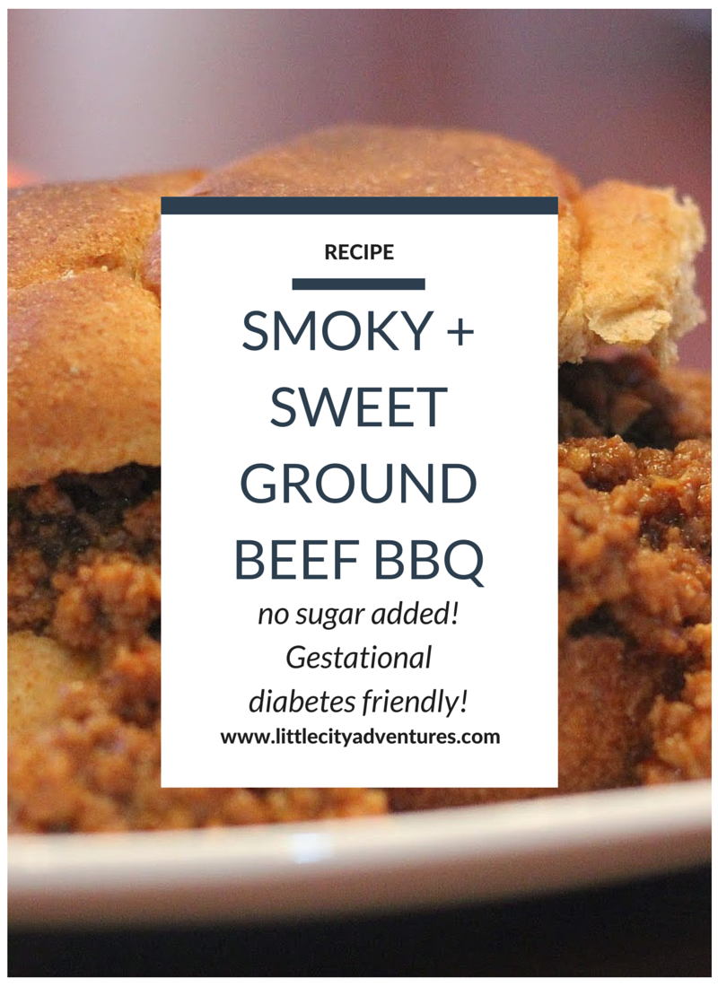Love this recipe for no sugar added Ground Beef BBQ that is smoky, sweet, and delicious! #littlecitykitchen