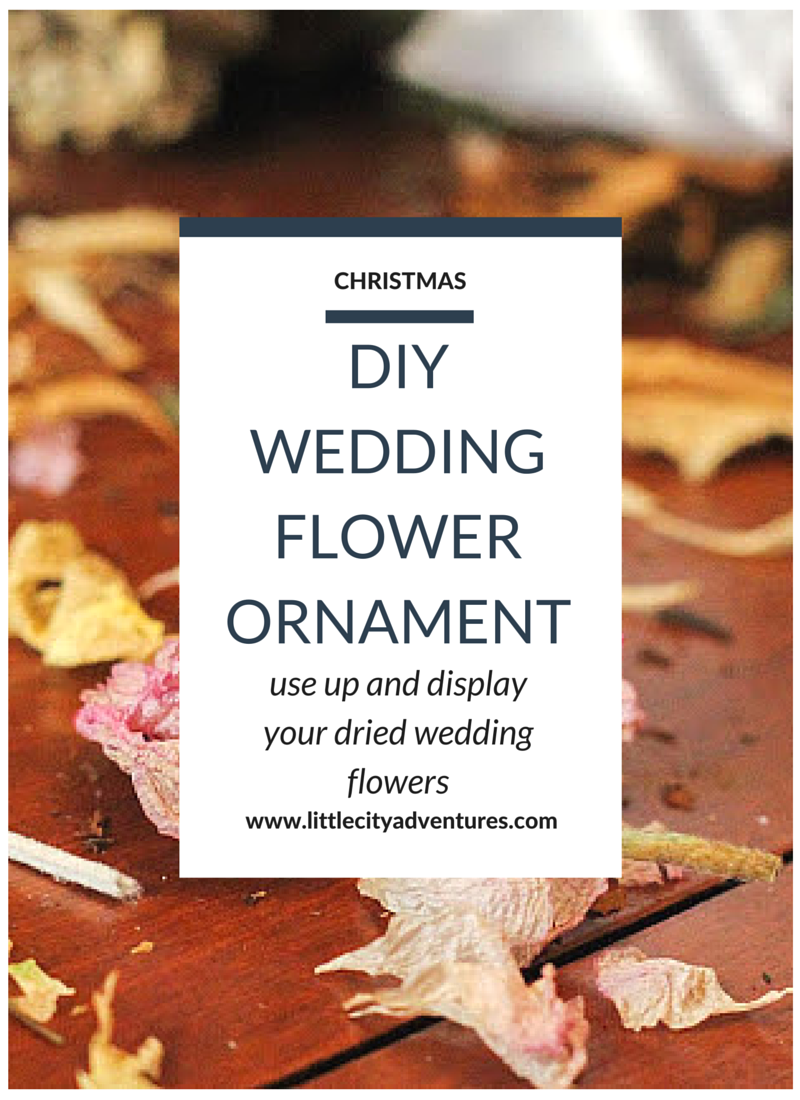 Looking for a creative way to save your wedding flowers? Dry your flowers and make this creative DIY Christmas ornament!