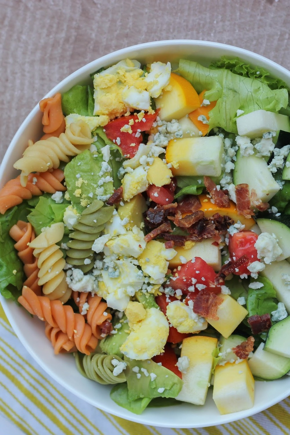 Summer Cobb Salad from Little City Adventures | A recipe full of summer-y goodness. Tomatoes, yellow squash, zucchini, and more!! #salad #summersalad #littlecitykitchen