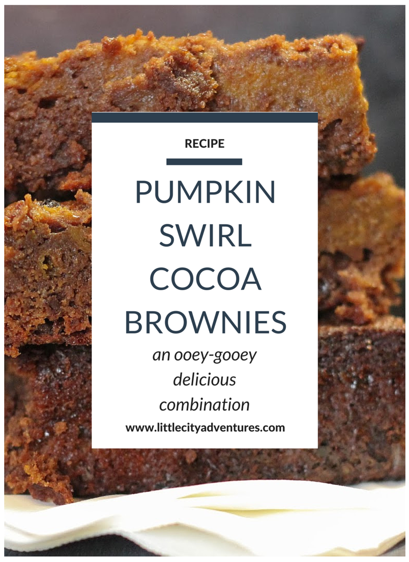 The gooest, fudgiest brownies out there...with pumpkin swirls! SO GOOD! #littlecitykitchen