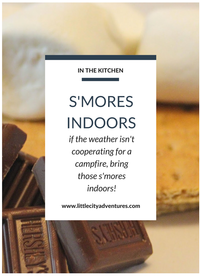 If the weather isn't cooperating for a campfire, there's no need to miss out on the ooey-gooey deliciousness of s'mores! Simply bring the s'mores indoors!