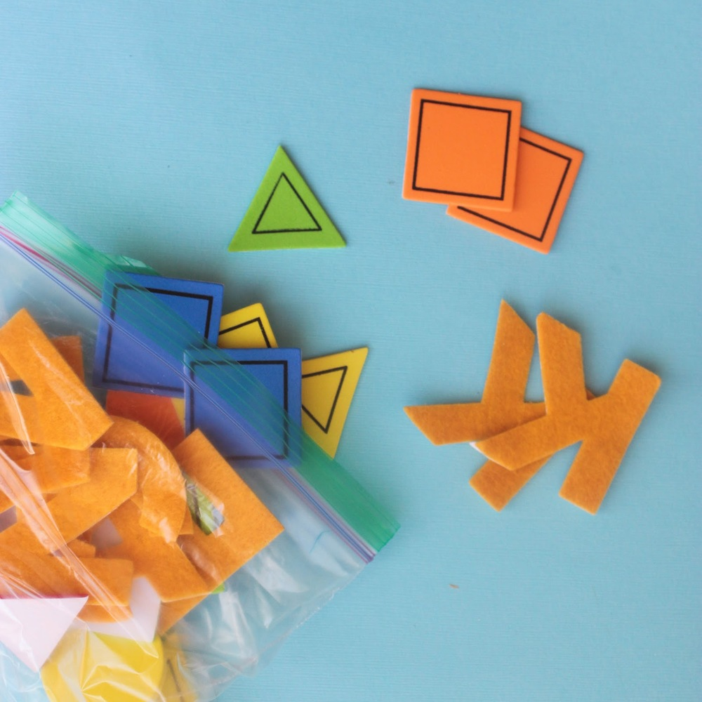 Use up the extra craft supplies and put together a letter and shape matching busy bag http://www.littlecityadventures.com/2016/04/10-simple-and-fun-toddler-busy-bags.html