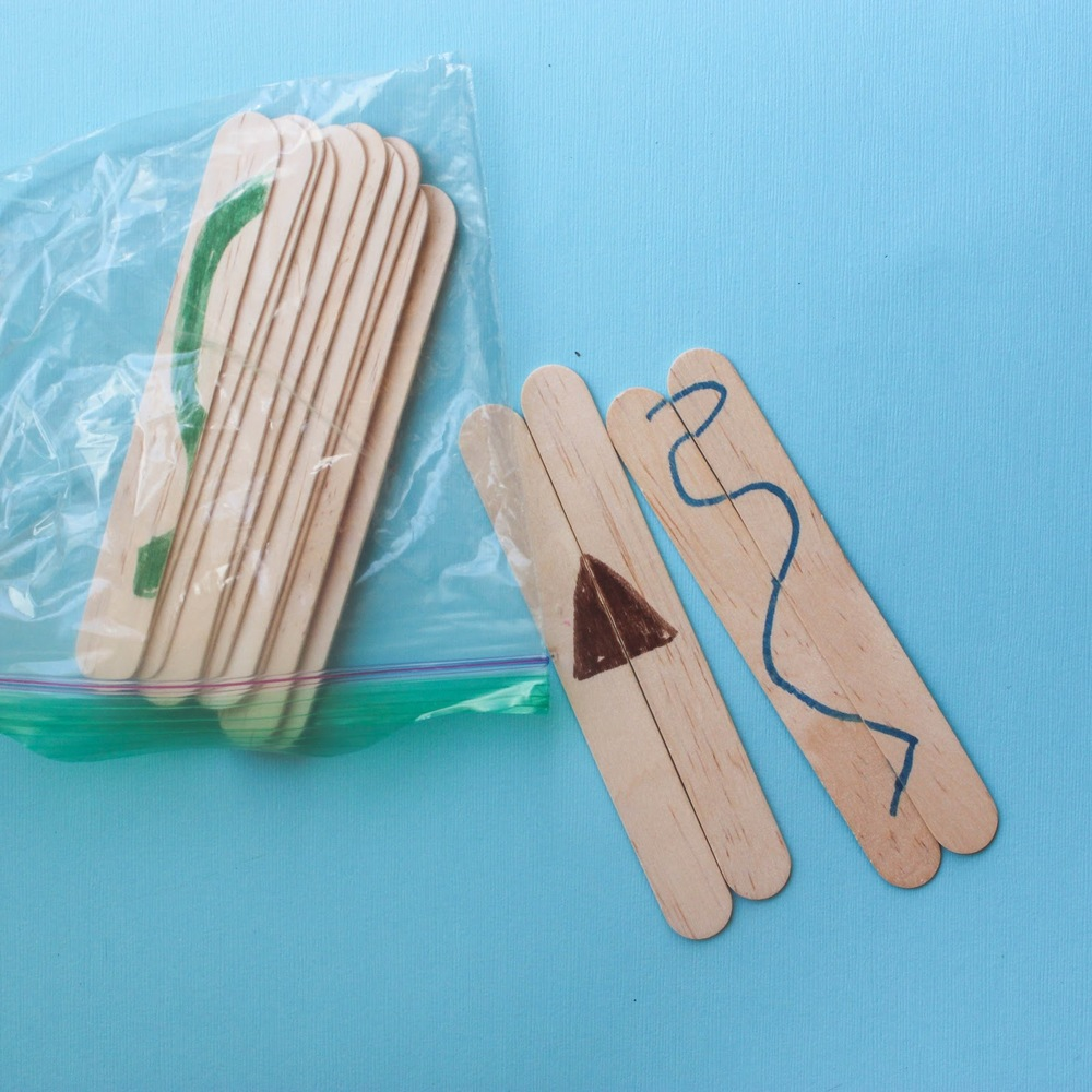 Make these quick and simple popsicle stick puzzles for your toddler's busy bag! http://www.littlecityadventures.com/2016/04/10-simple-and-fun-toddler-busy-bags.html