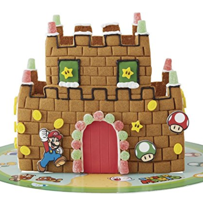 [affiliate link] Wilton Super Mario Brothers Gingerbread House Kit, $19.99